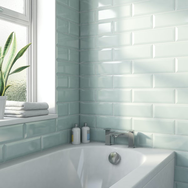 Maxi Metro aqua bevelled gloss wall tile 100mm x 300mm