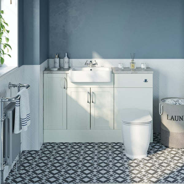 The Bath Co. Newbury white small fitted furniture combination with pebble grey worktop