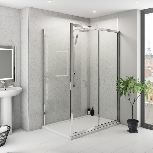 Multipanel Classic Blue Eiger unlipped shower wall panel 1200