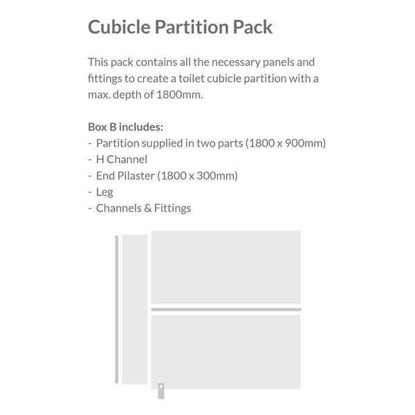 Pendle speckled grey toilet cubicle partition pack