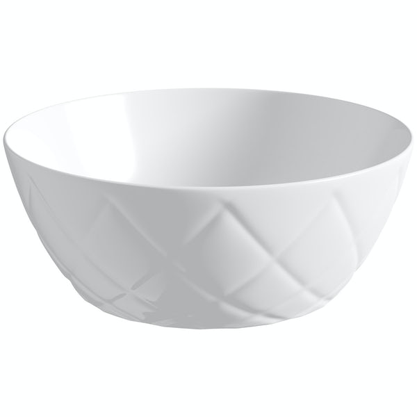 Wowee White textured countertop round basin 358mm with waste