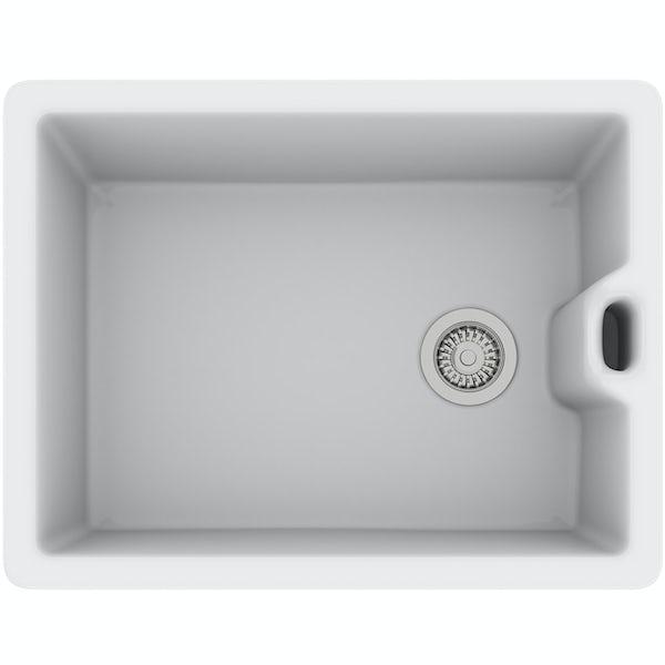 Rangemaster Classic Belfast 1.0 bowl ceramic kitchen sink and Schon kitchen tap