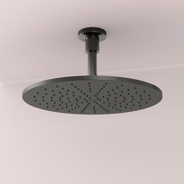 Ideal Standard Idealrain silk black round 300mm shower head + ceiling arm