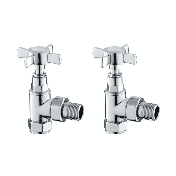 Reina Bronte chrome traditional angled radiator valves