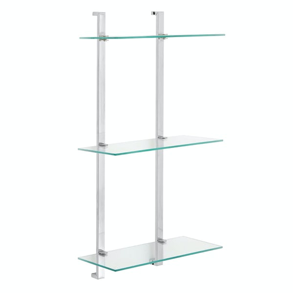 Wall mounted 3 tier 69cm glass shelf unit