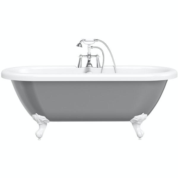 Grey Country Bathroom With Rolltop Bath: The Bath Co. Dulwich Grey Roll Top Bath With White Ball