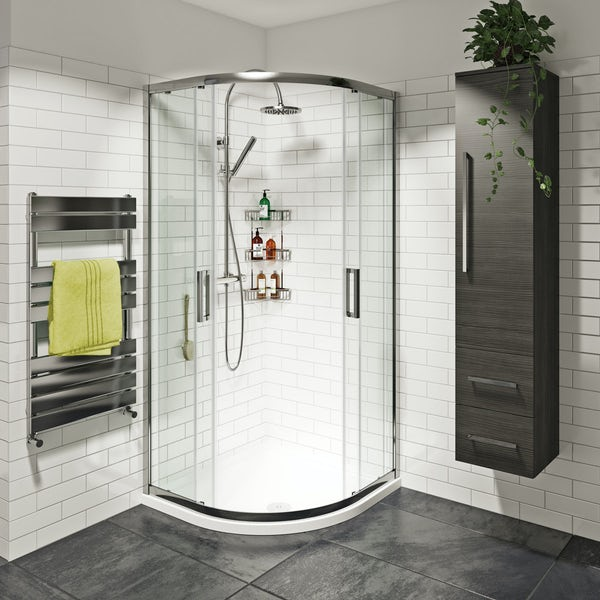 Mode Tate 8mm easy clean sliding quadrant shower enclosure and stone shower tray with waste