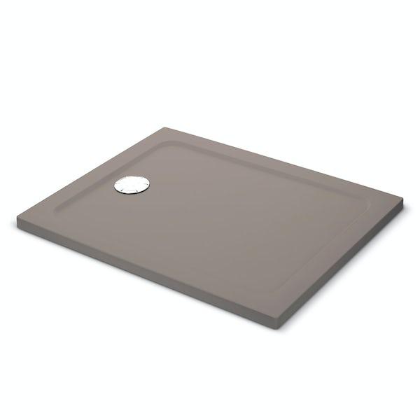 Mira Flight Safe low level anti-slip rectangular shower tray in Taupe