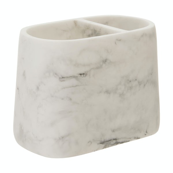 Accents Riviera smooth white marble toothbrush holder