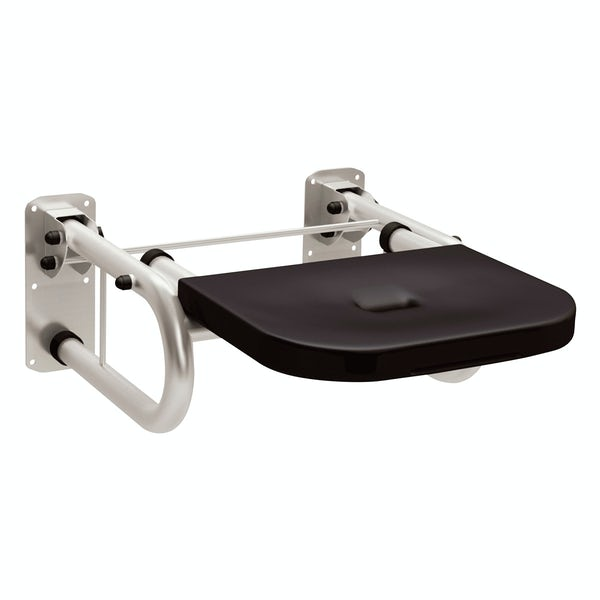 Dolphin commercial Doc M compliant stainless steel shower seat with black seat with satin finish