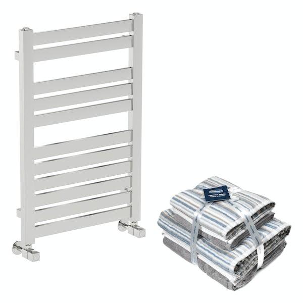 Mode Austin chrome radiator 770x500 with Silentnight Zero twist grey 4 piece towel bale