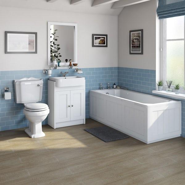The Bath Co. Dulwich matt white furniture suite with straight bath 1700 x 700mm