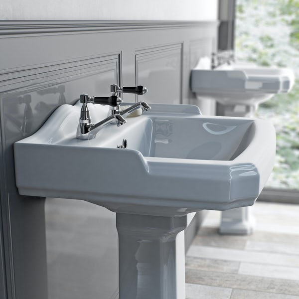 The Bath Co. Winchester basin pillar taps with black lever handle