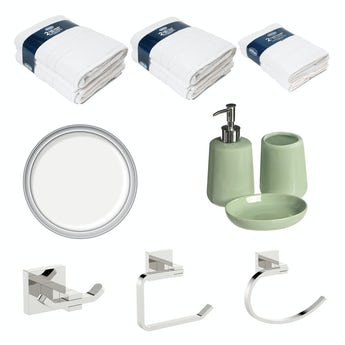 Accents Green and white bathroom bundle