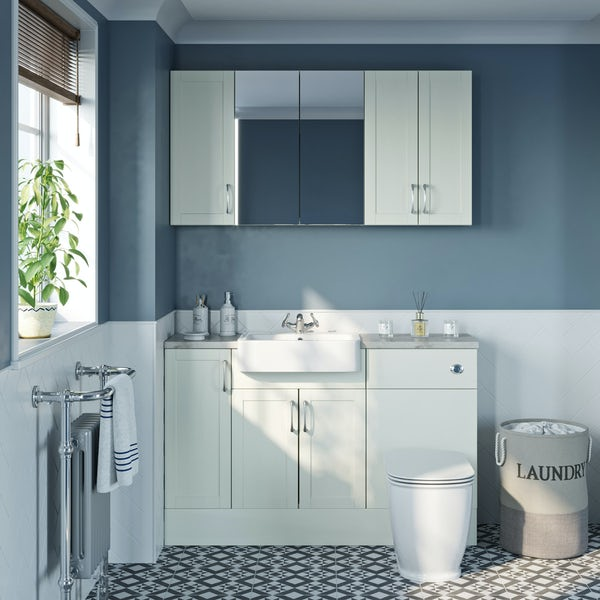 The Bath Co. Newbury white small fitted furniture & storage combination with beige worktop