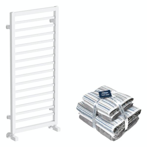 Mode Burton white heated towel rail 1000x450 with Silentnight Zero twist grey 4 piece towel bale