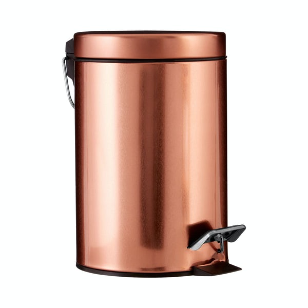Rose gold round 3 litre bathroom pedal bin