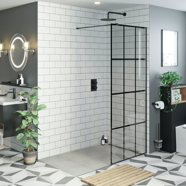 Mode 8mm black framed wet room glass panel