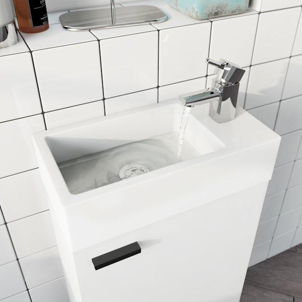 Clarity Compact satin grey corner floorstanding vanity unit with black handle and ceramic basin 580mm
