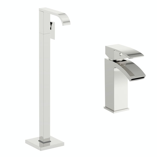 Orchard Wye basin and freestanding bath filler tap pack
