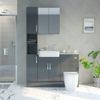 Reeves Nouvel gloss grey tall fitted furniture & mirror combination with pebble grey worktop