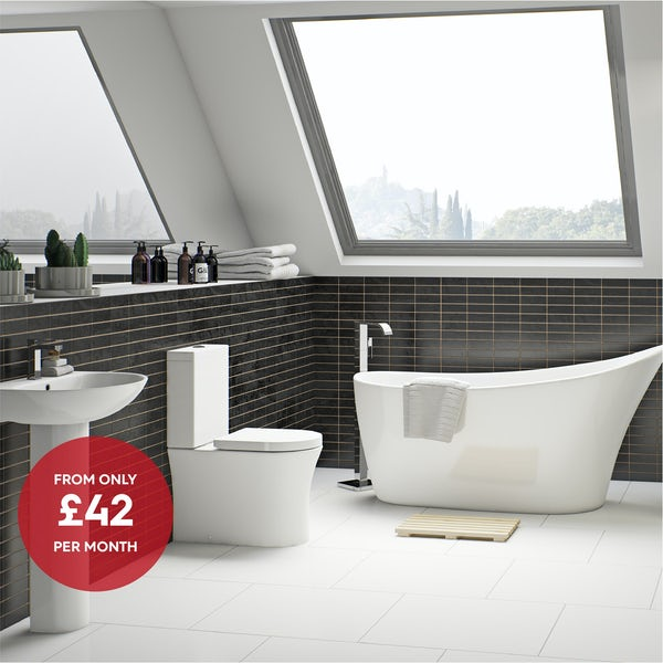 Mode Hardy rimless complete bathroom suite with freestanding bath and taps