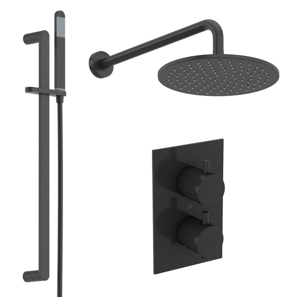 Mode Spencer round black triple valve shower set