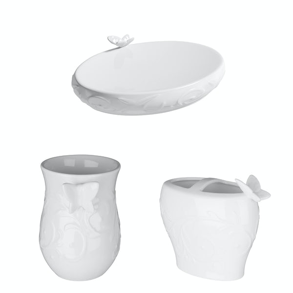 Accents Edelle porcelain white 3 piece bathroom accessory set