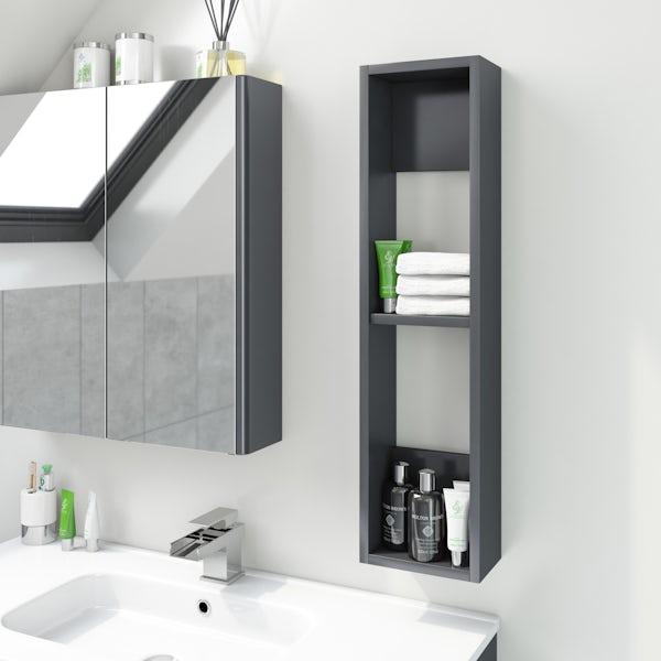 Accents Slimline slate gloss wall hung open storage unit 800 x 200mm