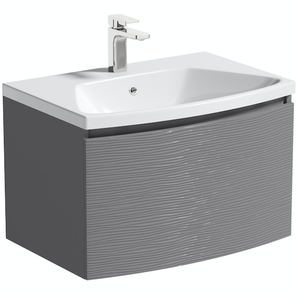Mode Foster textured lava-stone matt brown wall hung vanity unit and basin 660mm with tap