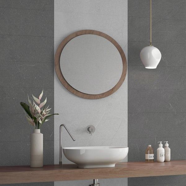 Matano light grey flat stone effect matt wall tile 250mm x 600mm