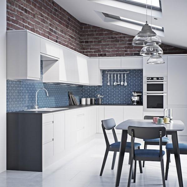 Schon Chicago white handleless 600mm single oven housing unit