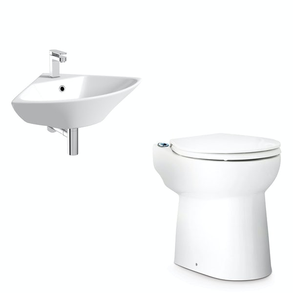 Saniflo Sanicompact cloakroom solution with cisternless back to wall toilet, macerator and small corner basin 450mm