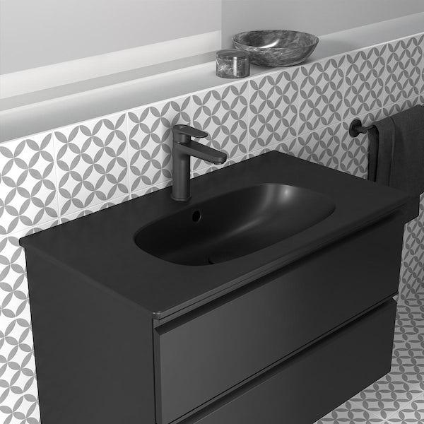 Ideal Standard Tesi silk black wall hung vanity unit and basin 800mm