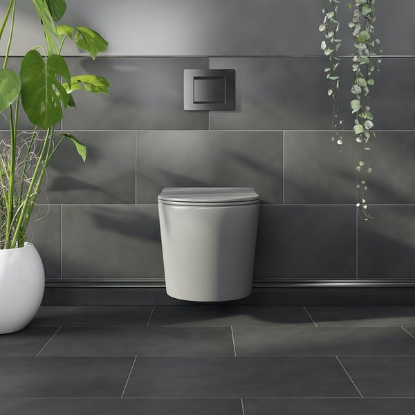 Mode Orion stone grey wall hung toilet and soft close seat