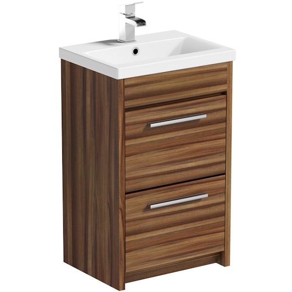 Clarity walnut vanity drawer unit with basin 500mm