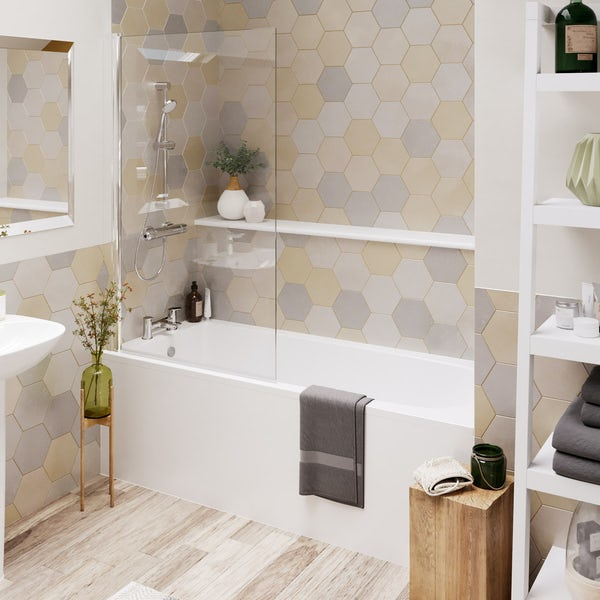Ideal Standard Tesi complete bathroom suite with straight bath, angle bathscreen, taps, panel and waste