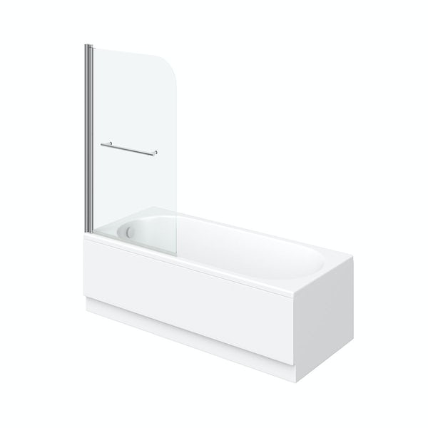 Eden round edge 1500 x 700 Shower Bath with Curved Single Screen and Rail