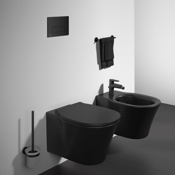 Ideal Standard silk black Oleas M2 flush plate with Prosys 120mm concealed cistern