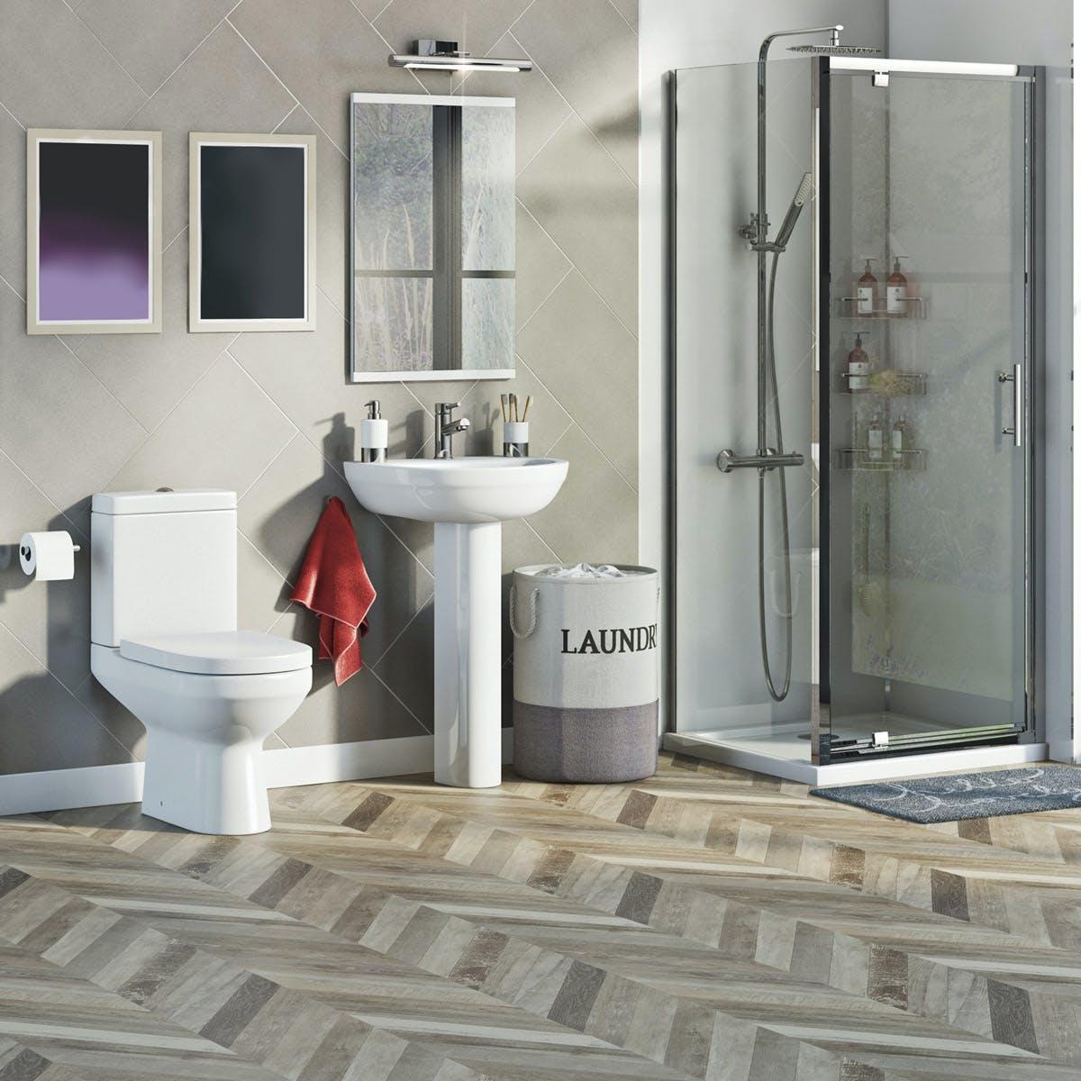 Orchard Balance Complete Pivot Door Shower Enclosure Suite