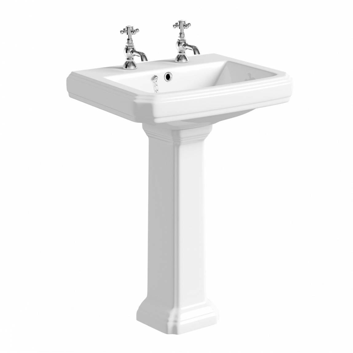 Dulwich 2 tap hole full pedestal basin 600mm