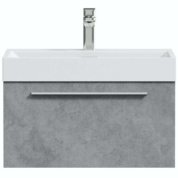 Mode Morris dark concrete grey wall hung vanity unit and basin 600mm
