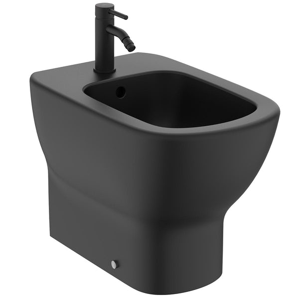 Ideal Standard Tesi silk black back to wall bidet with Ceraline tap and waste