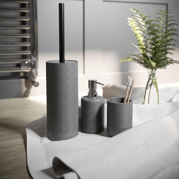 Accents dark grey 3 piece bathroom setAccents Runswick grey ceramic 3 piece bathroom set