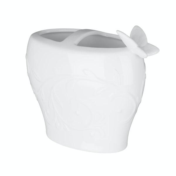 Edelle porcelain white butterfly toothbrush holder