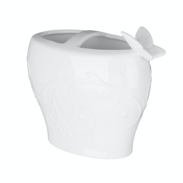 Edelle porcelain white butterfly toothbrush holder