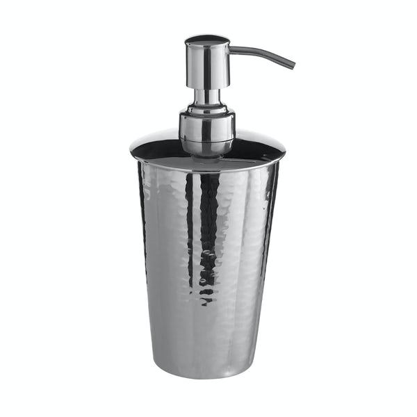Hammered nickel effect lotion dispenser
