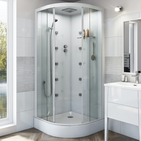 Mode quadrant white glass backed hydro massage shower cabin 900 x 900