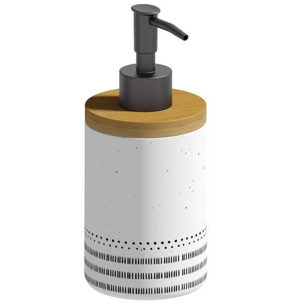 Accents ceramic white patterned soap dispenser