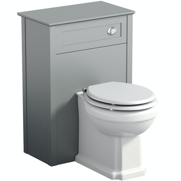 The Bath Co Camberley Satin Grey Back To Wall Toilet Unit And Traditional Toilet With White